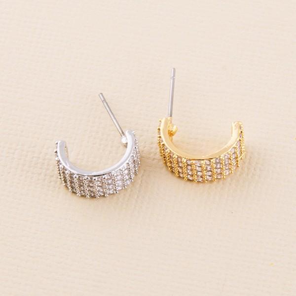 """Cubic Zirconia half hoop stud earrings.  - Approximately .5"""""""