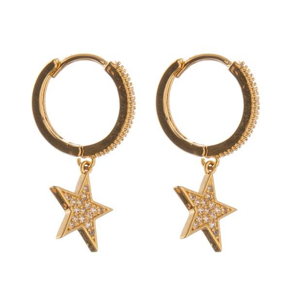 """Cubic Zirconia star huggie hoop earrings.  - Approximately 1"""" L - Approximately 12mm in hoop diameter"""