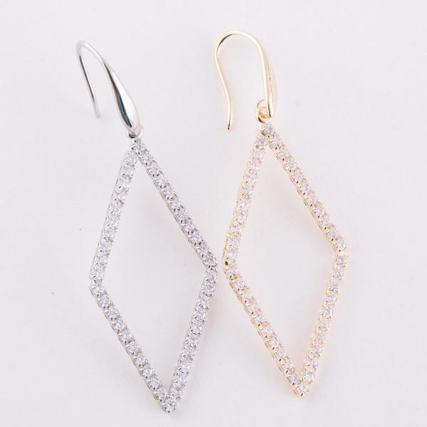 "Cubic Zirconia rhombus drop earrings.  - Approximately 2.5"" L"
