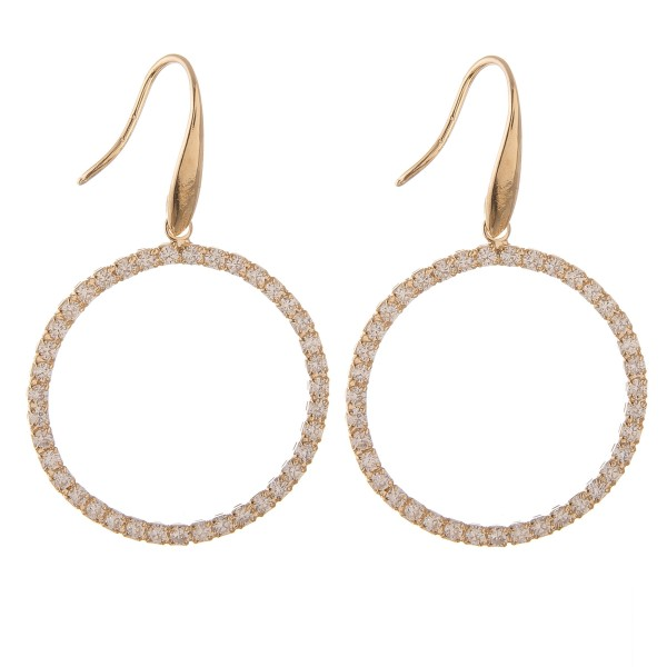 """Cubic Zirconia open circle drop earrings.  - Approximately 2"""" L - Approximately 1.25"""" in diameter"""