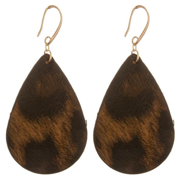 """Double sided faux leather leopard print teardrop earrings.  - Approximately 3"""" L"""