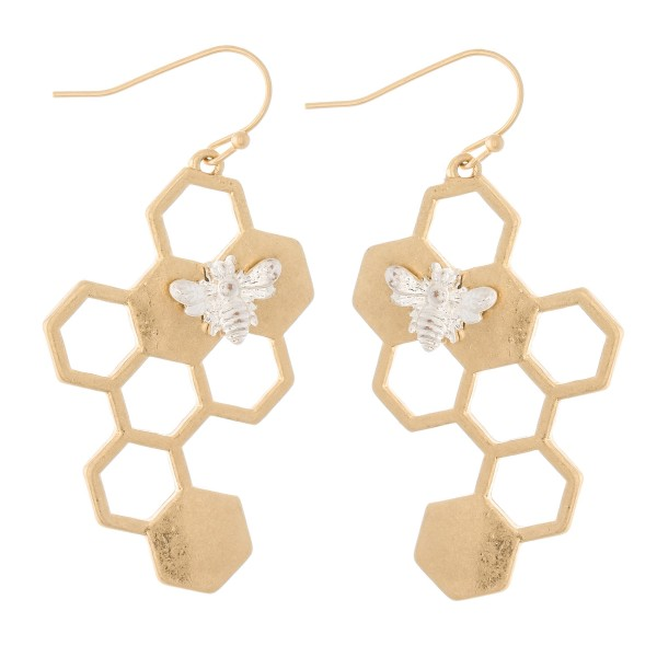 """Two tone Hammered Honeycomb and Bee Drop Earrings  - Approximately 2"""" L"""