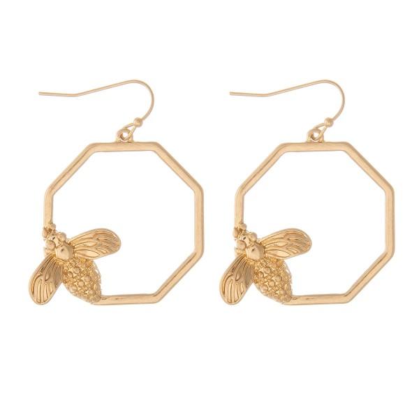"Designer Inspired Octagon Bee Drop Earrings in Worn Gold.  - Approximately 1.5"" L - 1"" in diameter"