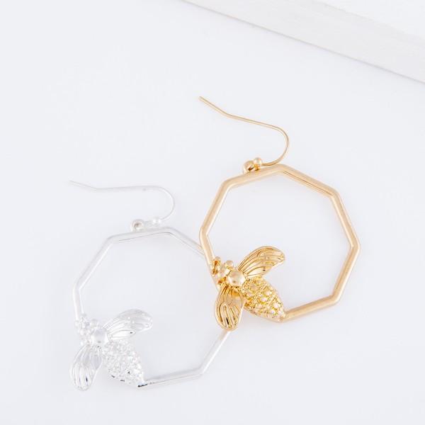 "Designer Inspired Octagon Bee Drop Earrings in Worn Silver.  - Approximately 1.5"" L - 1"" in diameter"