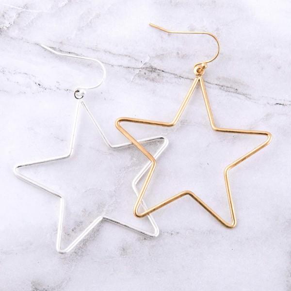 """Metal star drop earrings.  - Approximately 2"""" L"""
