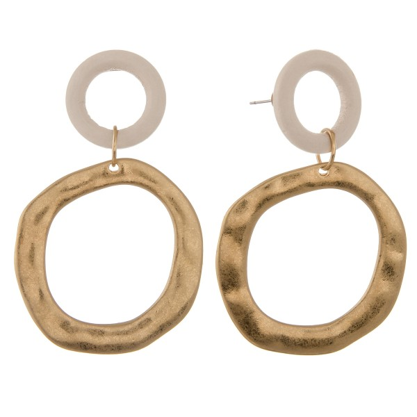 "Wood and hammered modern disc statement drop earrings.  - Approximately 3"" L"