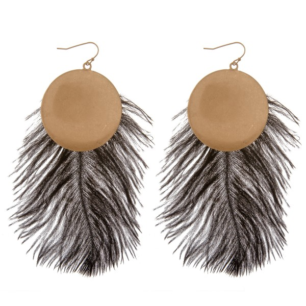 "Long Black feather disc bohemian statement earrings.  - Approximately 6"" L"