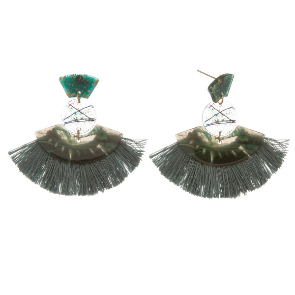 "Geometric transparent resin fringe tassel earrings with metallic abstract accents.  - Approximately 2"" L  - Approximately 2"" W"