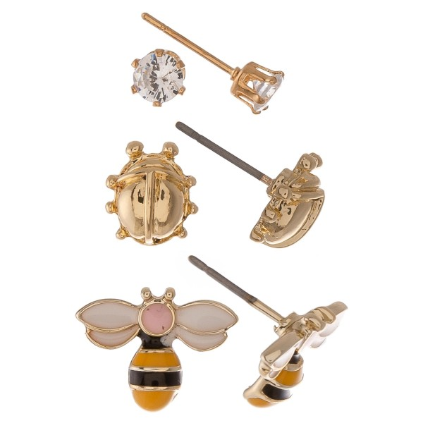 Dainty Gold Cubic Zirconia enamel coated garden stud earring set.  - 3pairs/set - Ladybugs, Bee's & Cubic Zirconia  - Approximately 6mm