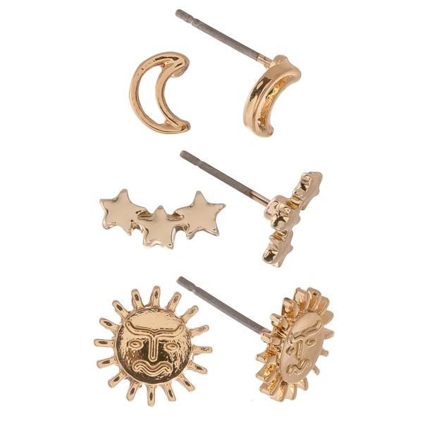 Dainty Gold boho stud earring set.  - 3pairs/set - Moons & Stars - Approximately 6mm