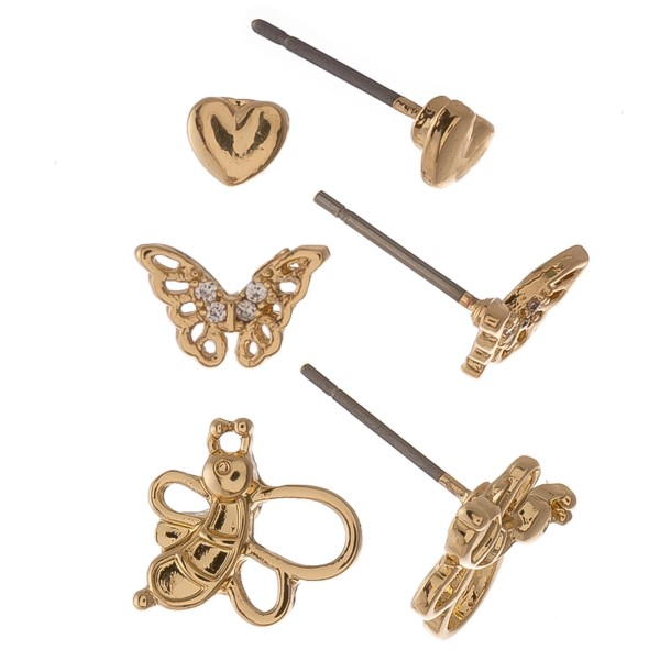 Dainty Gold Cubic Zirconia garden stud earring set.  - 3pairs/set - Hearts, Butterflies & Bee's - Approximately 6mm