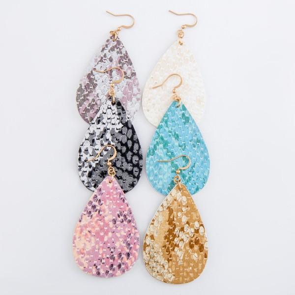 """Faux leather metallic snakeskin teardrop earrings.  - Approximately 3"""" L"""