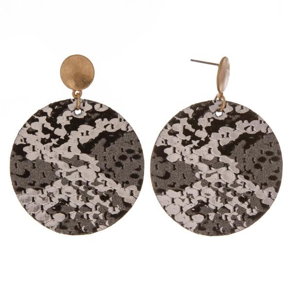 """Faux leather metallic snakeskin disc drop earrings.  - Approximately 2.25"""" L - 2"""" in diameter"""