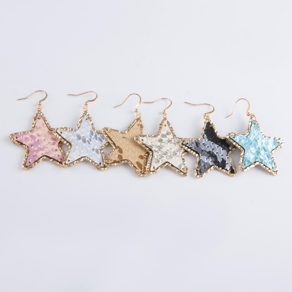 """Metallic faux leather snakeskin star drop earrings with Gold textured trim.  - Approximately 2"""" L"""