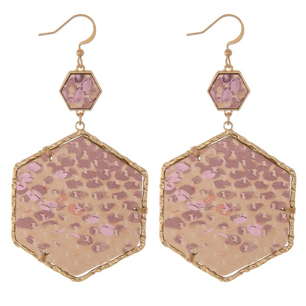 "Faux leather metallic snakeskin octagon drop earrings with textured Gold trim.  - Approximately 2.5"" L"