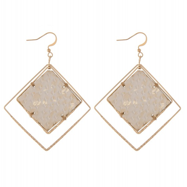 """Faux leather metallic snakeskin geometric square nested dangle earrings.  - Approximately 3"""" L"""