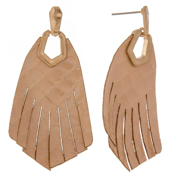 "Thin Genuine Leather solid animal print hinge tassel drop earrings.  - Approximately 2.5"" L"
