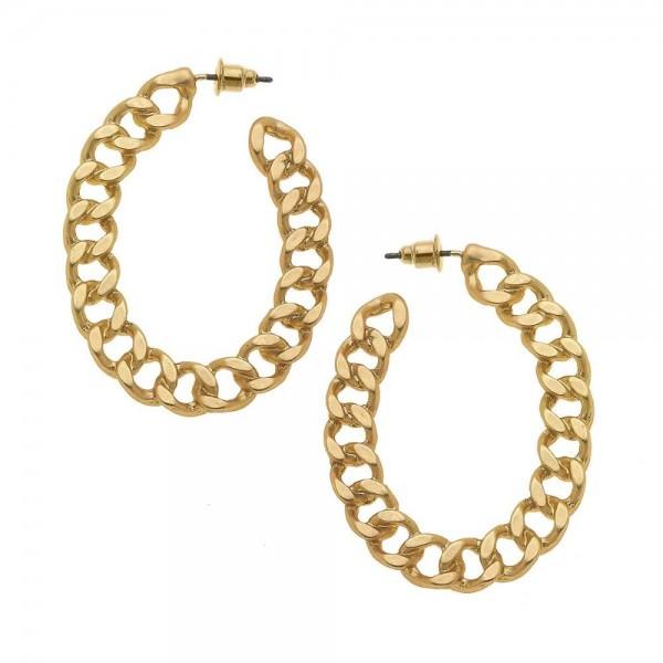"Curb Link Hoop Earrings in Matte Gold.  - Approximately 1.75"" in diameter"