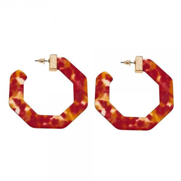 "Resin hexagon statement hoop earrings.  - Approximately 2.5"" in diameter"