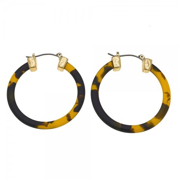 "Resin Tortoise Shell pin catch hoop earrings.  - Approximately 1.5"" in diameter"
