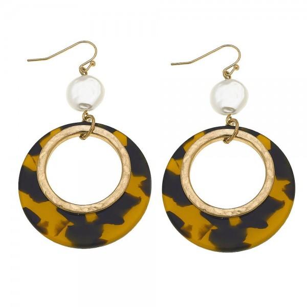 "Ivory Resin Tortoise drop earrings.  - Approximately 2.75"" L"