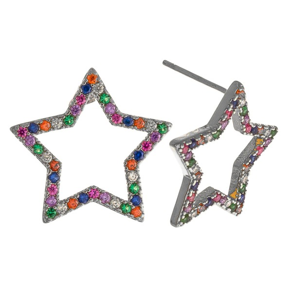 White Gold dipped multicolor rhinestone star stud earrings.  - Approximately .5""
