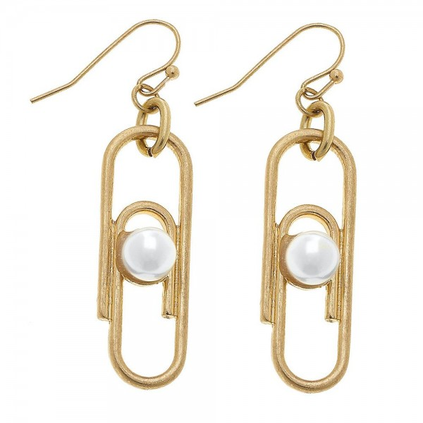 "Ivory Pearl paperclip drop earrings.  - Approximately 2"" L"