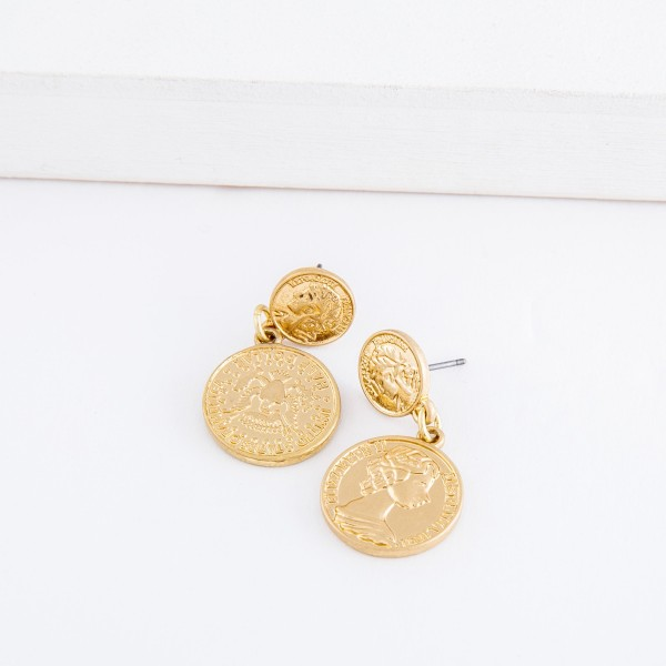 "Worn Gold coin drop earrings.  - Approximately 1.25"" L"