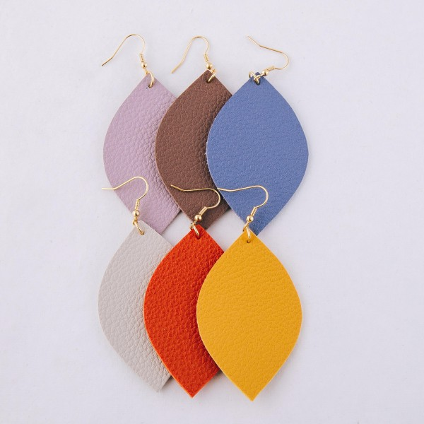 "Faux leather pointed oval statement earrings.  - Approximately 3.5"" L"