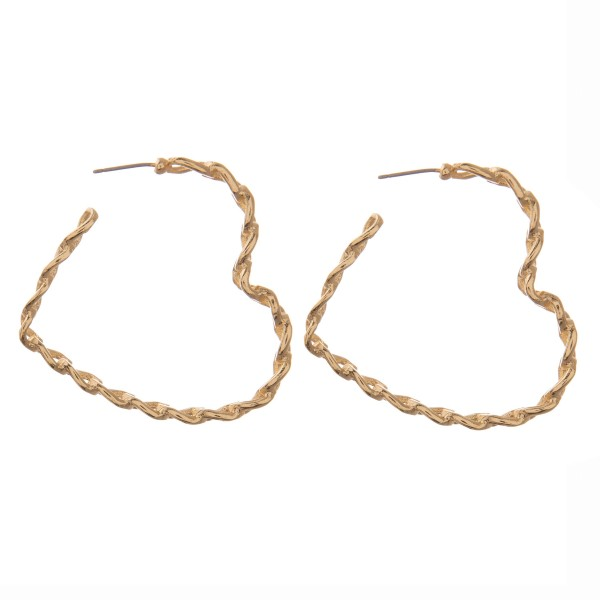 Wholesale metal chain link heart hoop earrings