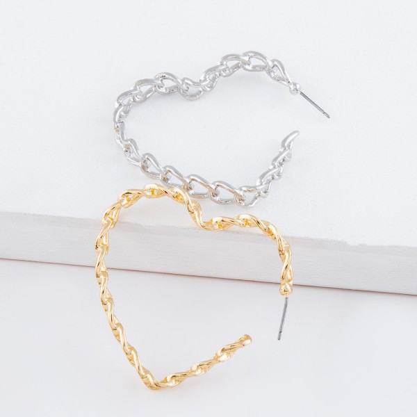Metal chain link heart hoop earrings.  - Approximately 2""