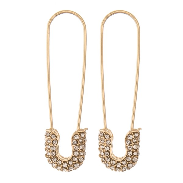 "Rhinestone safety pin threader earrings.  - Approximately 1.75"" L"