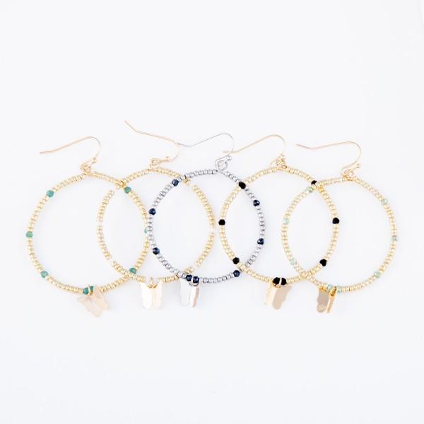 "Beaded Drop Earrings Featuring Butterfly Detail.  - Approximately 2.25"" L - 1.5"" in diameter"