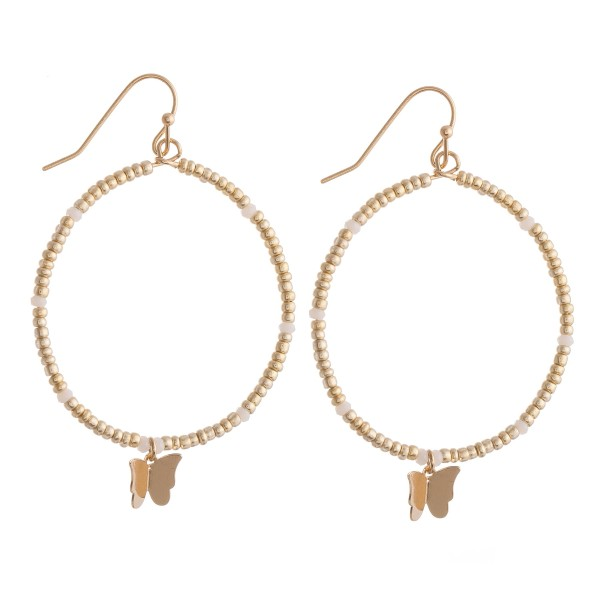 "Beaded Drop Earrings Featuring Butterfly Detail.  - Approximately 2.25"" L - 1.5"" in diameter"