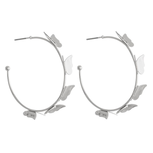 """Hoop Earrings Featuring Butterfly Accents.  - Approximately 1.5"""" in diameter"""
