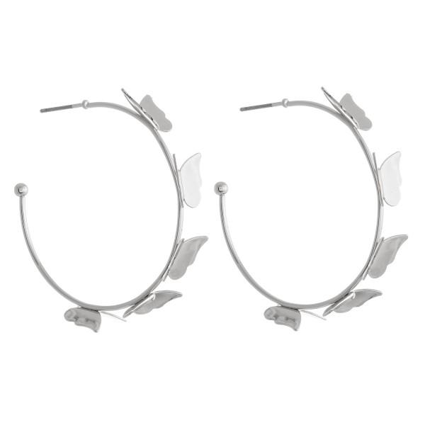 Wholesale hoop Earrings Butterfly Accents diameter