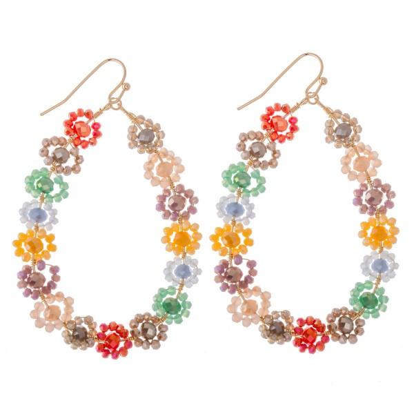 """Beaded Flower Teardrop Earrings.  - Approximately 2.25"""" L"""
