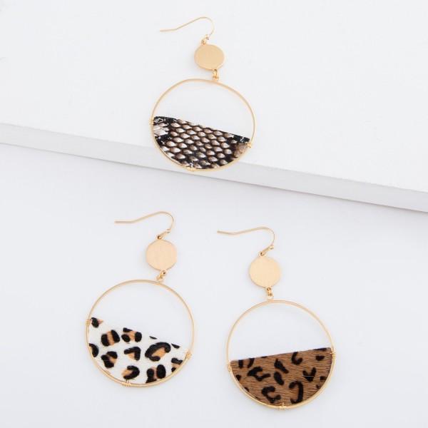 "Faux leather leopard print semi circle drop earrings.  - Approximately 2.5"" L"