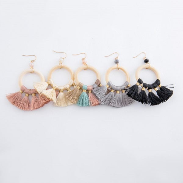 "Wood fan tassel statement drop earrings with bead accent.  - Approximately 3"" L"