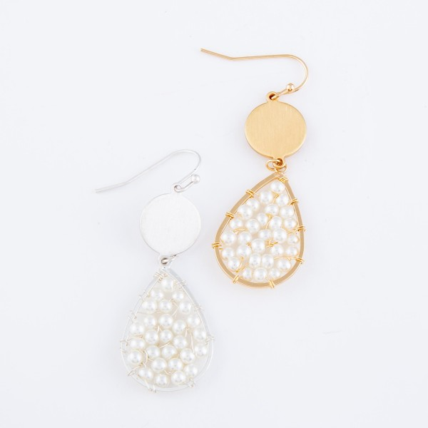 "Ivory Pearl Beaded Teardrop Earrings.  - Approximately 2"" L"