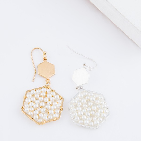 "Ivory Pearl Beaded Hexagon Drop Earrings.  - Approximately 2"" L"