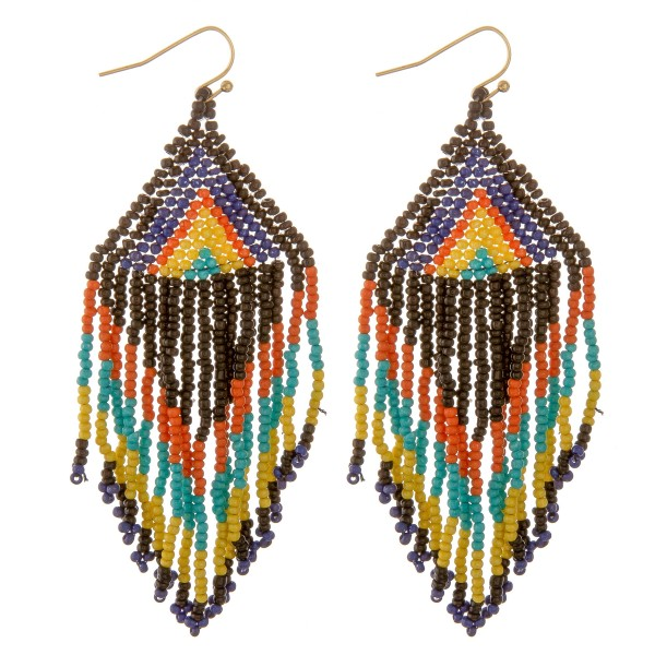 "Seed beaded ethnic tassel drop earrings.  - Approximately 4"" L"