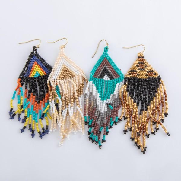 """Seed beaded ethnic tassel drop earrings.  - Approximately 4"""" L"""