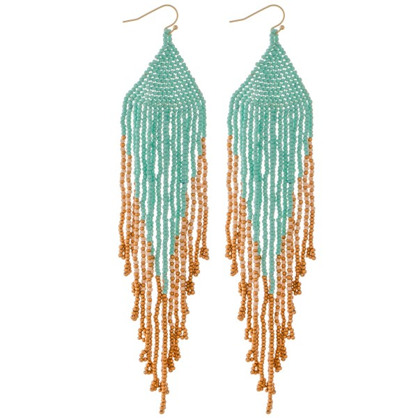 "Extra long seed beaded fringe tassel statement earrings.  - Approximately 6.5"" L"