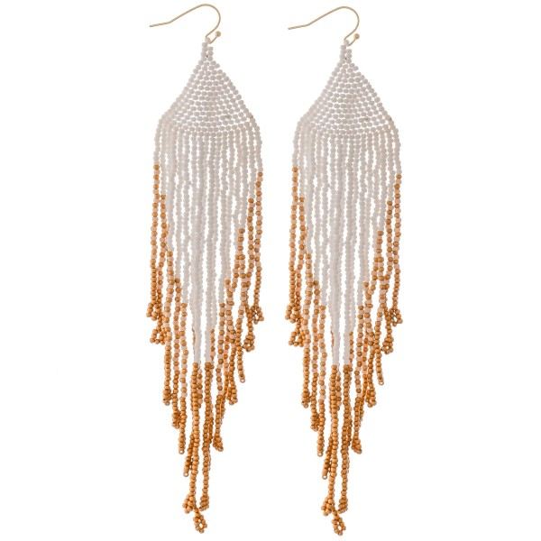 "Extra long seed beaded fringe tassel statement earrings.  - Approximately 6.5"" L"