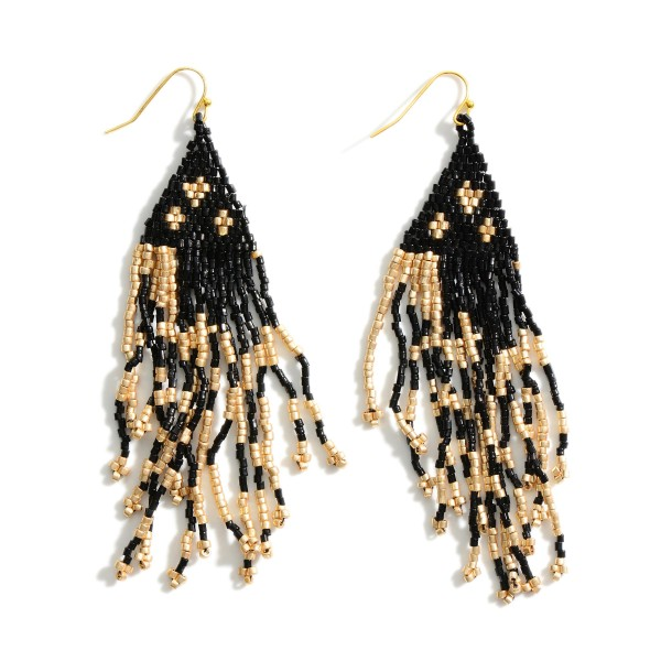 "Seed Beaded Animal Print Tassel Drop Earrings.  - Approximately 4"" L"