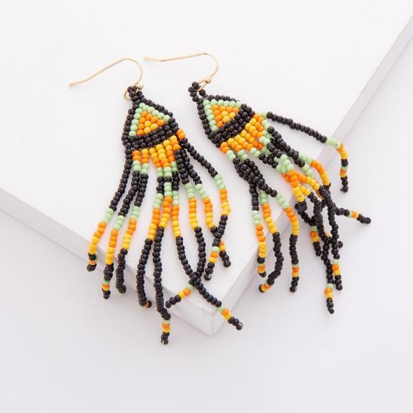"Black Multi Seed Beaded Ethnic Print Tassel Drop Earrings.  - Approximately 3.25"" L"
