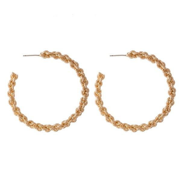 Wholesale textured Plated Brass Chain Link Hoop Earrings diameter