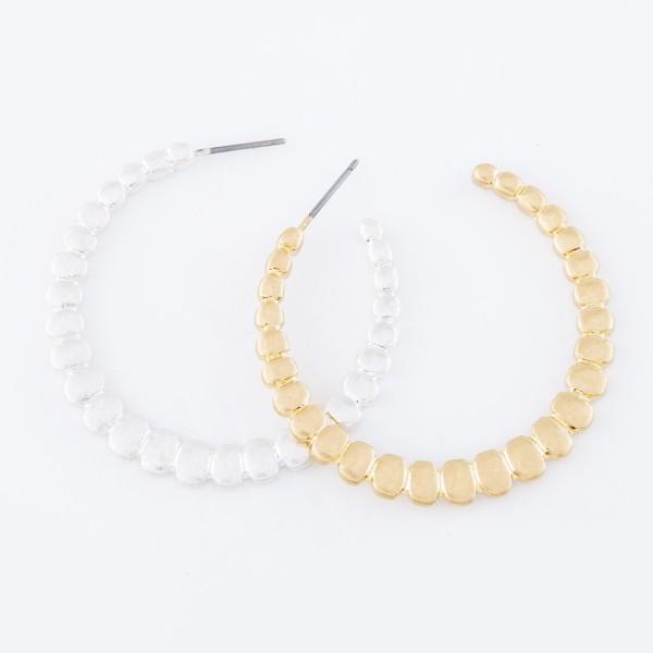 "Worn Gold Scale Textured Hoop Earrings.  - Approximately 1.5"" in diameter"