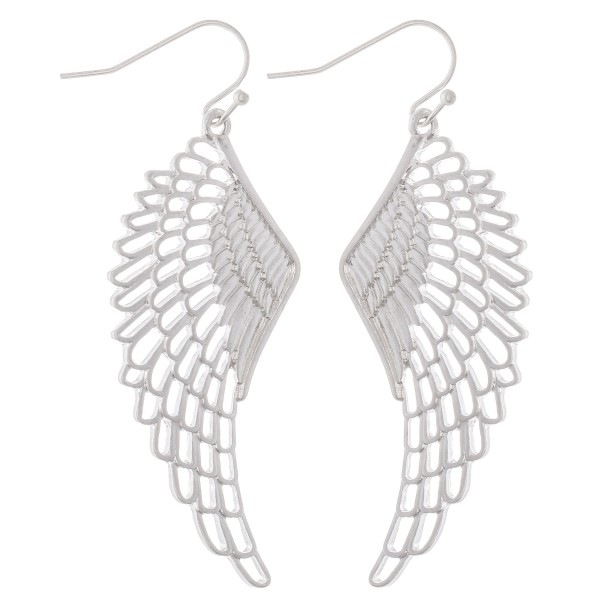 """Metal Angel Wing Fishhook Drop Earrings.  - Approximately 2.5"""" L"""